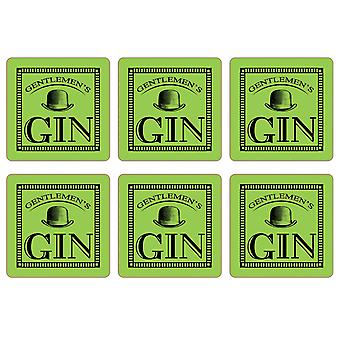 Gentleman's Gin Set of 6 Coasters, Lime