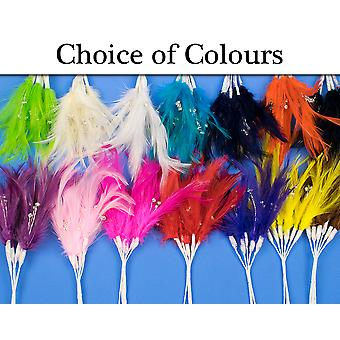 6 Feather & Diamante Picks for Floristry & Craft Projects - Choice of Colours
