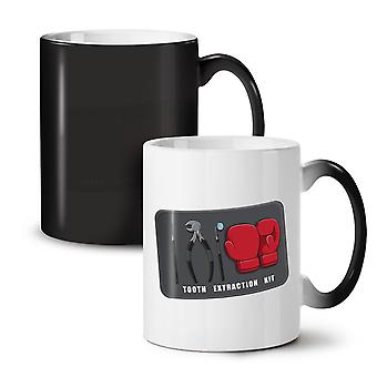 Tooth Extraction Kit NEW Black Colour Changing Tea Coffee Ceramic Mug 11 oz | Wellcoda