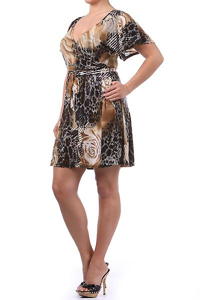 Waooh - Fashion - Short dress 'Marina' Brown - Printed Flower