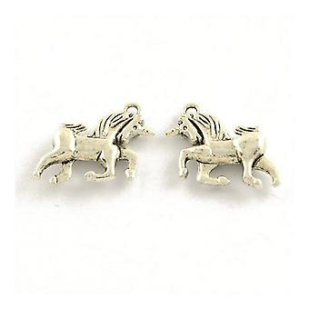 Packet 15 x Antique Silver Tibetan 21mm Unicorn Charm/Pendant ZX15820