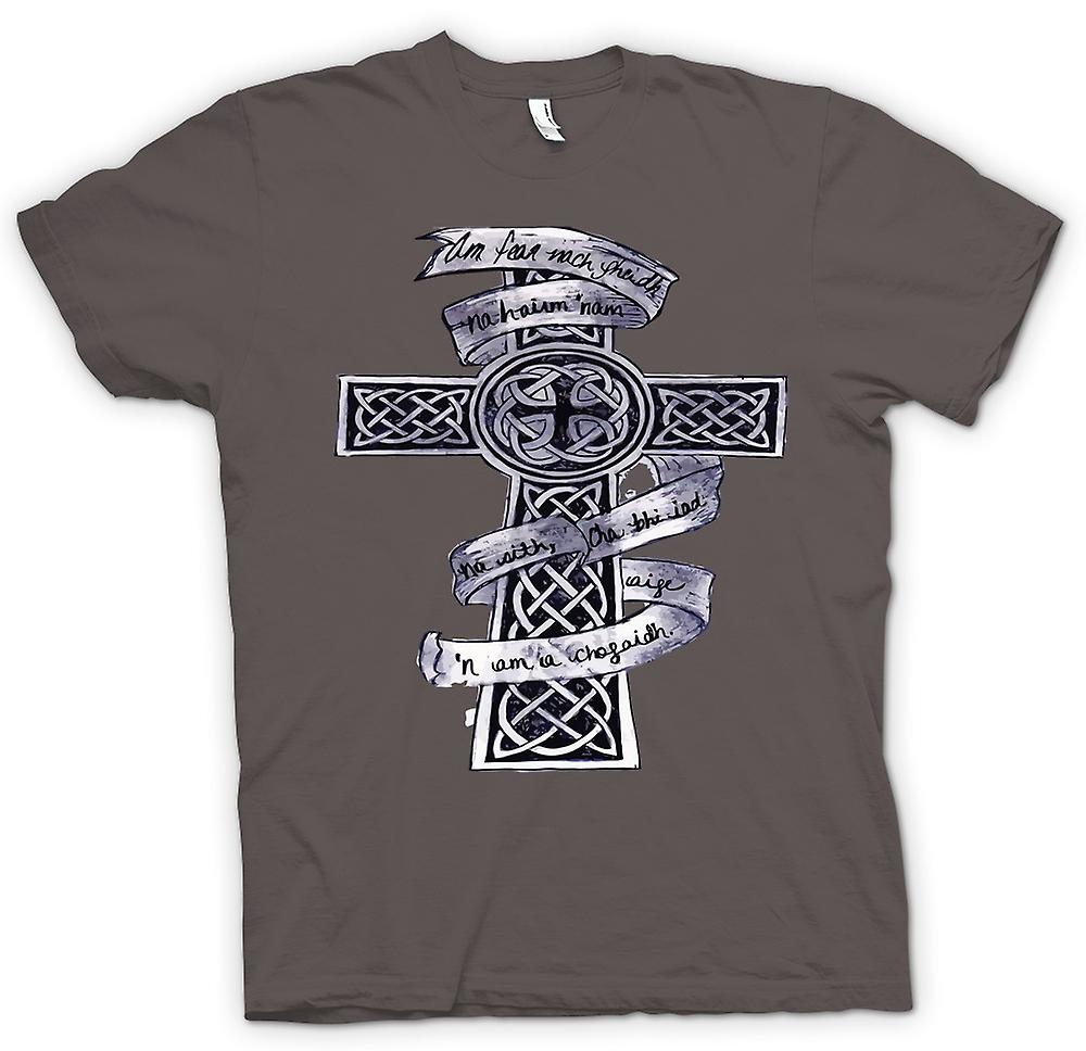Herr T-shirt-Keltiskt kors Tribal Tattoo