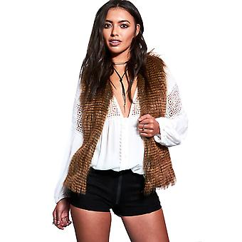 LMS Sleeveless Faux Fur Gilet With Satin Side Inserts