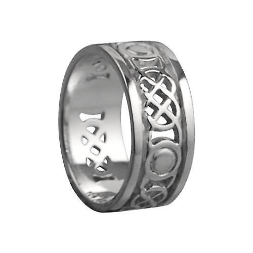 9ct White Gold 8mm pierced Celtic Wedding Ring Size Q