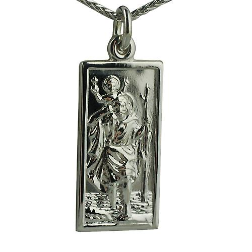 9ct White Gold 26x13mm rectangular St Christopher with Spigal chain