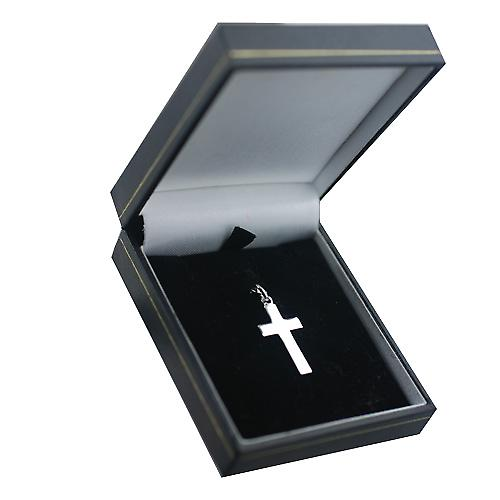 9ct White Gold rhodium plated 25x25mm plain Cross with embossed border