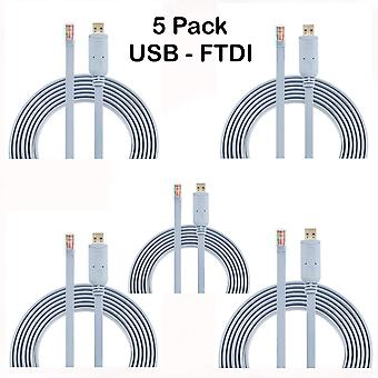 AGS Einzelhandel 5 Pack Cisco Konsolenkabel USB zu RJ45-1.8M 6 ft FTDI Chip