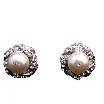 Swarovski Cream Pearl Stud Post Earrings Surrounded w/ Cubic Zircon