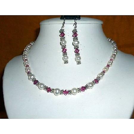 Vintage Necklace White FreshWater Pearls & Swarovski Fuchsia Crystals