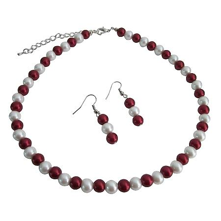 Red & White Combo Gorgeous Bridesmaid Jewelry Necklace Earrings Set
