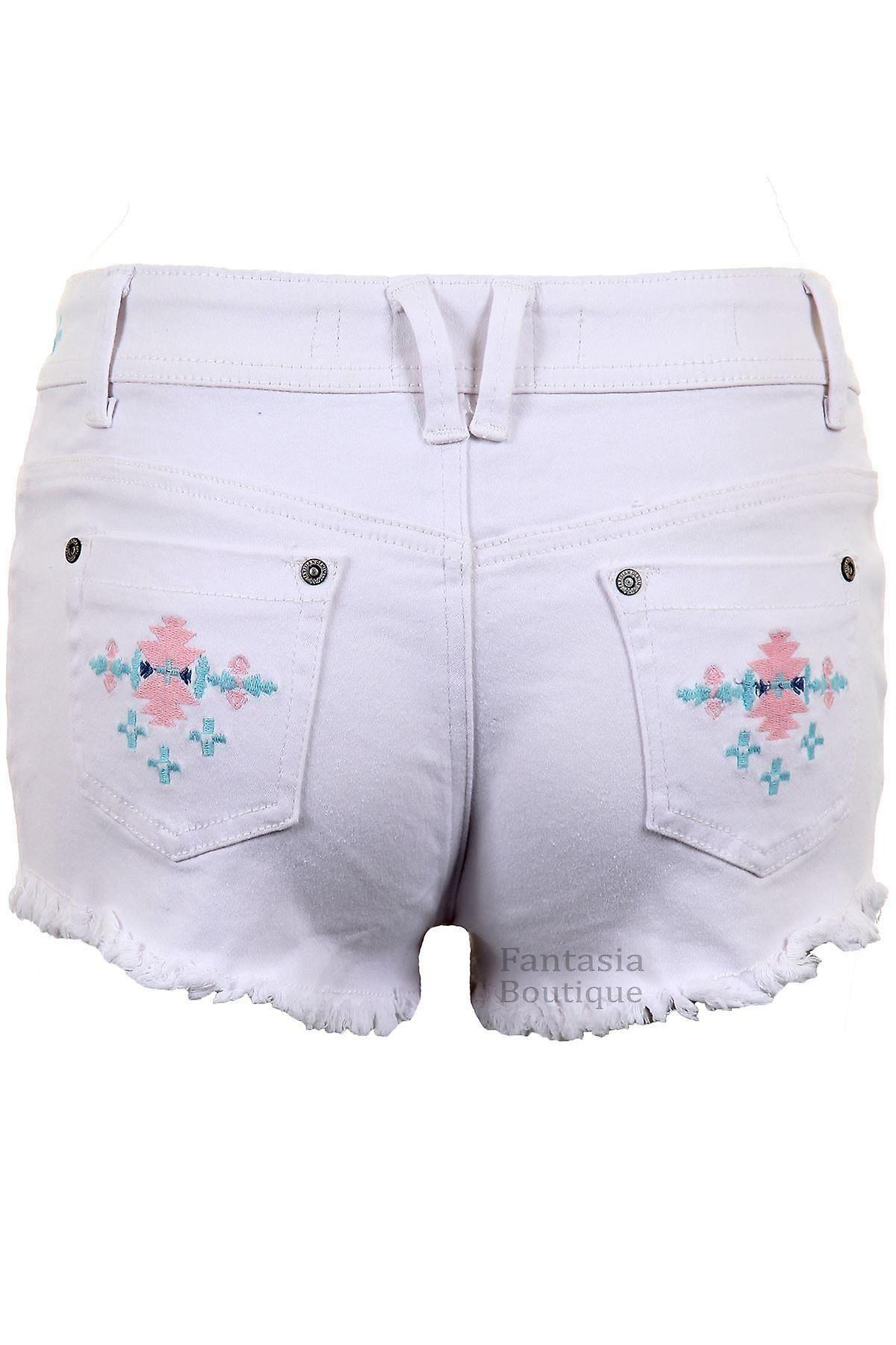 Ladies Denim Pastel Coloured Aztec Summer Shorts Women's Fitted Hotpants