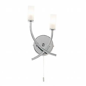 Endon 146-2CH 2 Light Modern Chrome Wall Light with Switch