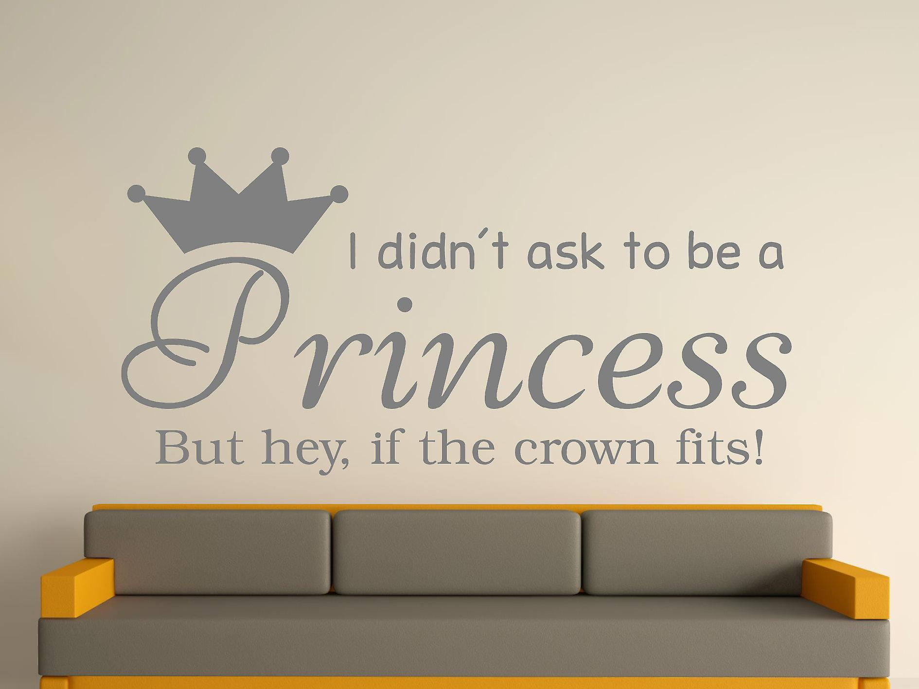 Being A Princess v2 Wall Art Sticker - grijs