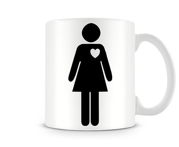 Stick Woman Heart Printed Mug