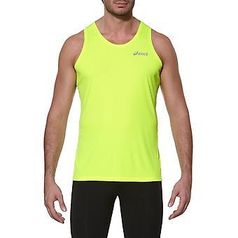 رجالي Asics تشغيل بلا اكمام سترة القميص الأصفر