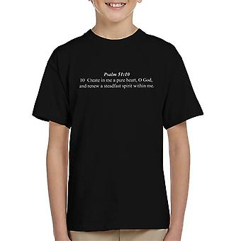 Religious Quotes Create In Me A Pure Heart Kid's T-Shirt