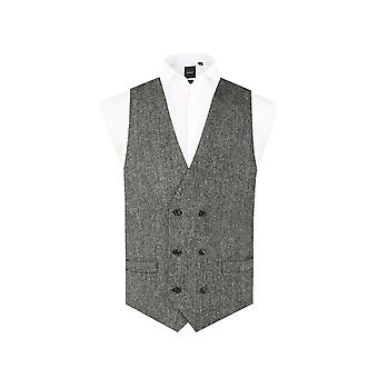 Harris Tweed Mens Black & Grey Herringbone Tweed Waistcoat Regular Fit 100% Wool 6 Button Double Breasted