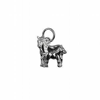 الحصان 13x13mm الفضة وقلادة مهرا أو سحر