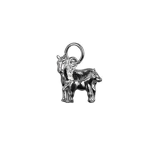 Silver 13x13mm Horse and Foal Pendant or Charm