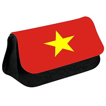Vietnam Flag Printed Design Pencil Case for Stationary/Cosmetic - 0194 (Black) by i-Tronixs