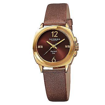 Akribos XXV AK742YG Women's Swiss Quartz Diamond-Accented Satin Gold-Tone Strap Watch