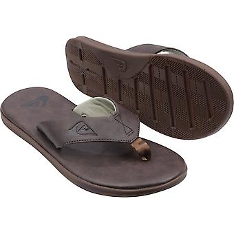 Quiksilver Mens Haleiwa Plus Nubuck Casual Flip Flops - Dark Brown