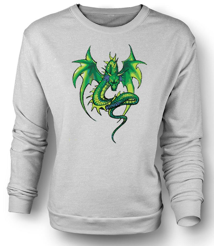 Mens Sweatshirt Green Dragon komisk Design