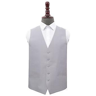 Silver Shantung Wedding Waistcoat