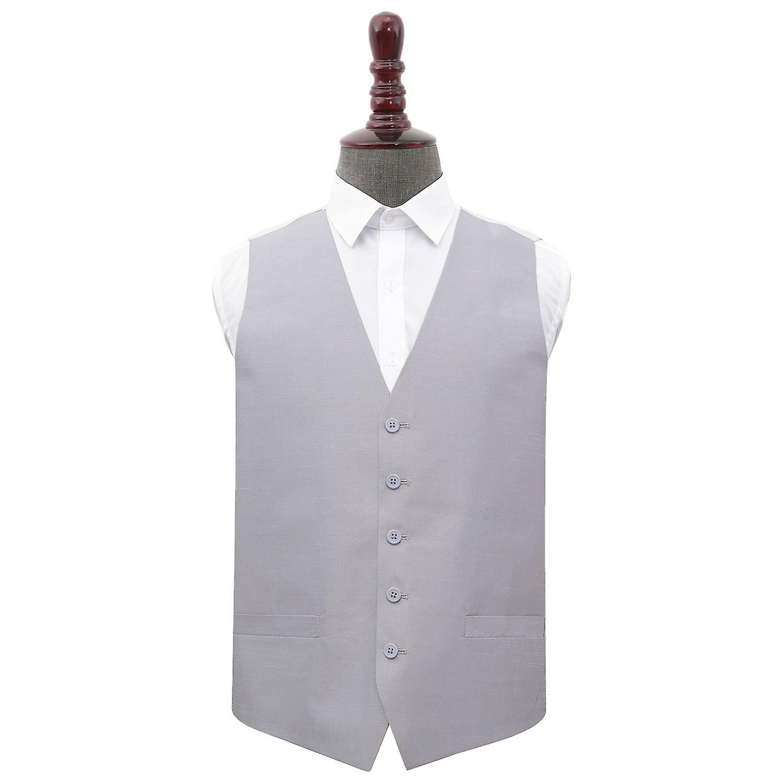 Silver Plain Shantung Wedding Waistcoat