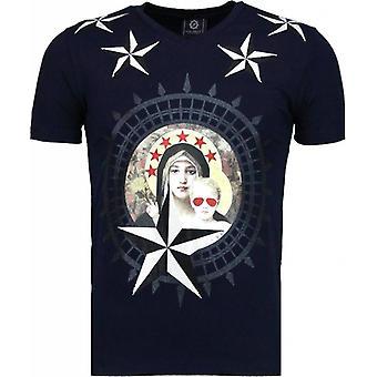 Holy Mary-Rhinestone T-shirt-Navy