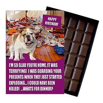 English Bulldog Funny Birthday Gifts For Dog Lover Boxed Chocolate Greeting Card Present