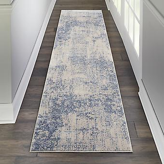 Silky Textures Hallway Runner Sly01 By Nourison In Ivory Blue