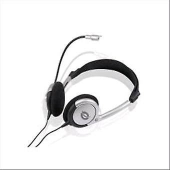 Conceptronic headphone with microphone with black silver cable