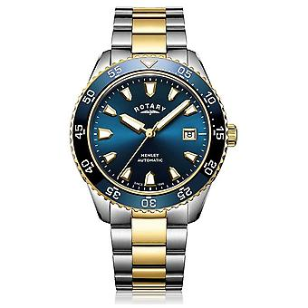 Rotary Mens Henley Automatic Two Tone Bracelet Blue Dial GB05131/05 Watch