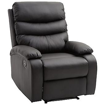 HOMCOM Modern PU Leather Recliner Lounger Sofa Chair Living Room Armchair Padded Armrest Footrest Black
