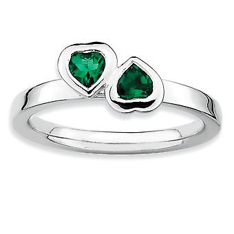 925 Sterling Silver Bezel Polished Rhodium-plated Stackable Expressions Cr. Emerald Double Heart Ring - Ring Size: 5 to