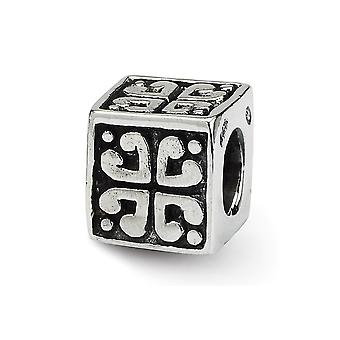 925 Sterling Silber Quadrat antike Finish Reflexionen SimStars Herz Würfel Perle Charme