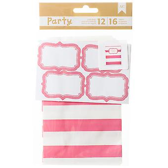 DIY Party Treat Bags & Labels-Pink & White 369841
