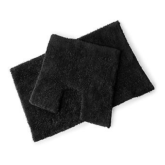 Premier Black 100% Cotton Bath and Pedestal Mat Set