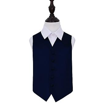 Boy's Navy Blue Plain Satin Wedding Waistcoat