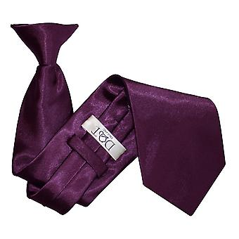 Plain Plum Satin Clip On Tie