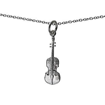 Silver 21x7mm Violin Pendant with a rolo Chain 14 inches Only Suitable for Children