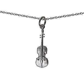 Zilver 21x7mm viool met een rolo ketting 14 inch alleen geschikt voor kinderen