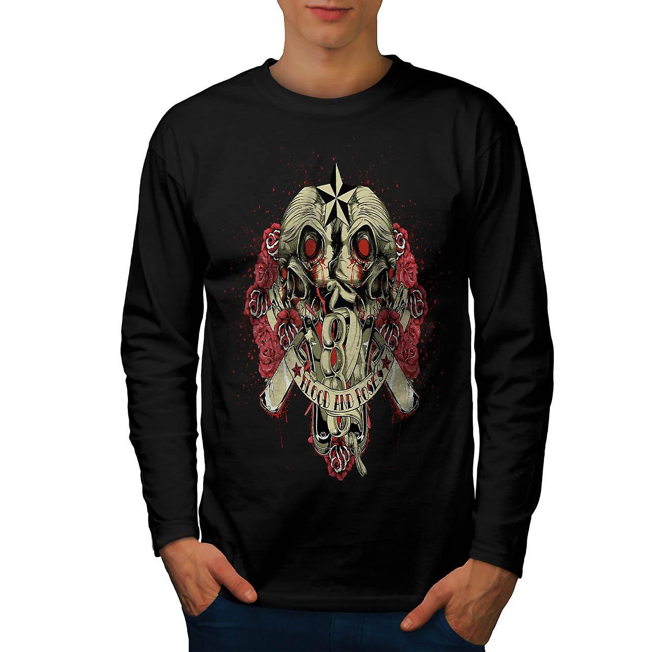 Blood And Roses Zombie Men Black Long Sleeve T-shirt | Wellcoda
