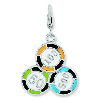 Sterling Silver Enameled Casino Chips With Lobster Clasp Charm - 3.0 Grams