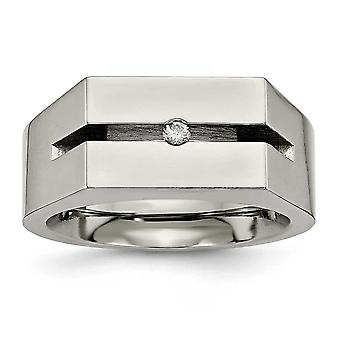 Titanium Polished Engravable with Diamond Ring - Ring Size: 7 to 13
