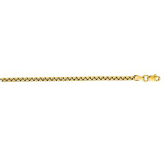 14k Yellow Gold Round 2.1 mm Box Chain Necklace - Length: 16 to 24