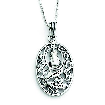 Sterling Silver Antiqued Animal Friends-Cat 18inch Necklace - 6.2 Grams