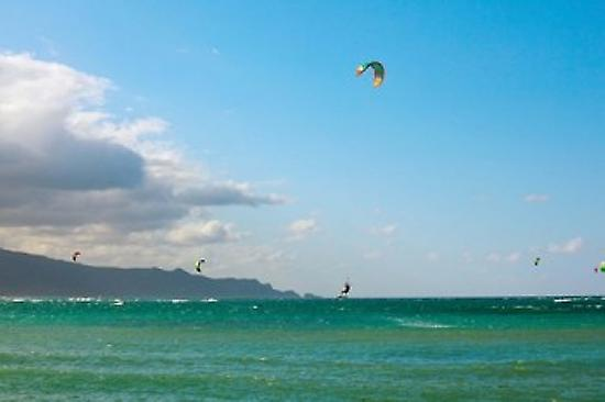 Tourists kiteboarding in the ocean Maui Hawaii USA Poster Print by Panoramic Images (36 x 24)