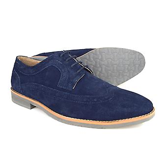 Silver Street London Lombard Mens Navy Suede Casual Brogues